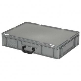 Kunststoffkoffer / Eurobehälter mit 1 Tragegriff, LxBxH 600 x 400 x 130 mm, grau