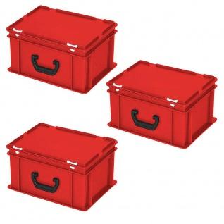 3 Aufbewahrungskoffer/Kunststoffkoffer, LxBxH 400x300x180 mm, 16 Liter, rot