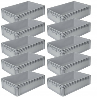 10x Eurobehälter LxBxH 400x300x170 mm, grau, Inhalt 15 Liter