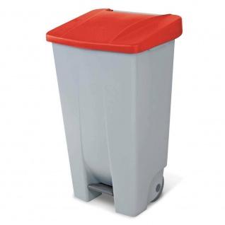 Abfalleimer mit Rollen, 120 Liter, HxBxT 880 x 510 x 430 mm, grau / rot