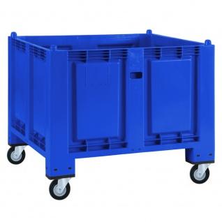 Palettenbox mit 4 Gummi-Lenkrollen Ø 120 mm, LxBxH 1200 x 800 x 1000 mm, Boden/ Wände geschlossen, blau