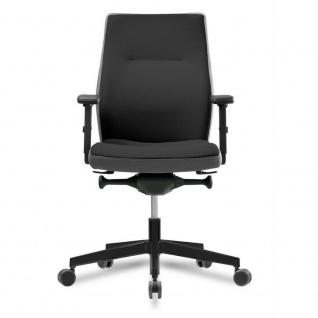Bürostuhl mit 2D-Armlehnen, Lordosenstütze, Bandscheibensitz, schwarz