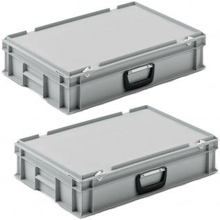 2 Eurokoffer / Gerätekoffer, stapelbar, LxBxH 600x400x130 mm, PP, grau