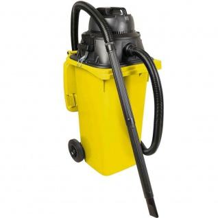 Nass- / Trockensauger / Industriesauger 1100 Watt, mit 120 Liter DIN Tonne gelb