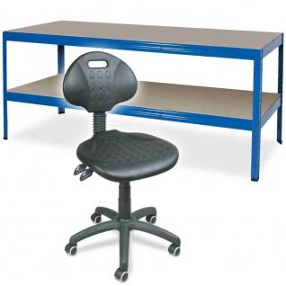Packtisch / Werkbank mit Fachboden BxTxH 1800 x 600 x 900 mm + Arbeitsdrehstuhl