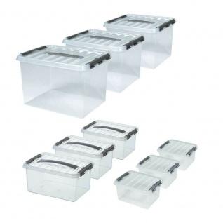 9 Klarsichtboxen mit Clipdeckel, transparent, je 3x 2 Liter, 6 Liter, 22 Liter