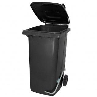 120 Liter Mülltonne mit Fußpedal für handfreie Bedienung, grau