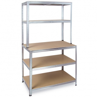 Packtisch / Werkbank, BxTxH 900x600x1800 mm, verzinkt, Tragkraft 265 kg/ Boden