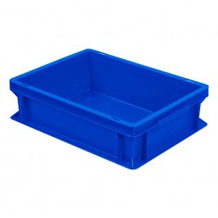 Stapelbehälter / Eurobehälter mit 2 Griffleisten, LxBxH 400 x 300 x 120 mm, blau. Boden/Wände geschlossen