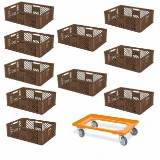 10 Euroboxen, 600x400x240 mm, braun, lebensmittelecht + GRATIS Transportroller