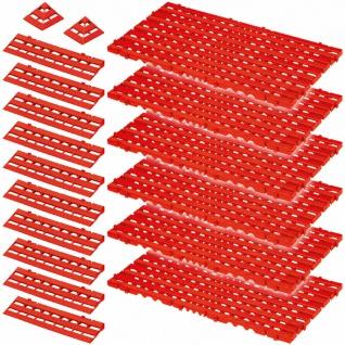 18-teiliges Set, 2, 4 m² Bodenrost, rot, aus lebensmittelechtem PE-HD