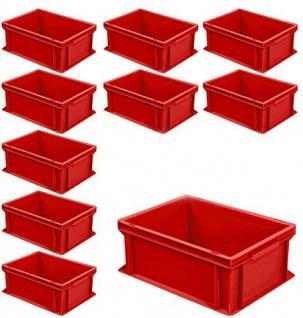 10 Euroboxen mit 2 Griffleisten, LxBxH 400x300x170 mm, 16 Liter, rot