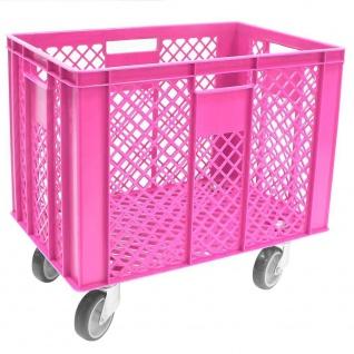 Korb mit 4 Lenkrollen, 83 Liter, 600x400x410/550 mm, Tragkraft ca. 120 kg, pink