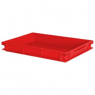 Stapelbehälter / Kunststoffkiste mit 2 Griffleisten, LxBxH 600 x 400 x 75 mm, rot, Boden/Wände geschlossen - Vorschau