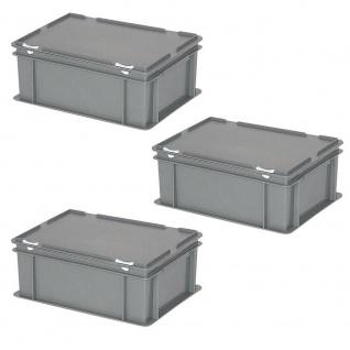 3 Deckelbehälter im Euroformat, LxBxH 400x300x180 mm, 16 Liter, 1, 6 kg, grau