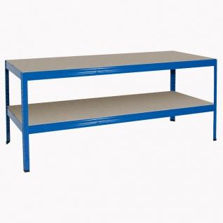 Packtisch / Werkbank, BxTxH 1800 x 600 x 900 mm, Tragkraft 350 kg/Boden, blau