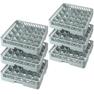 6x Spülkorb für Gläser und Tassen, LxB 500 x 500 mm, 25 Fächer, grau