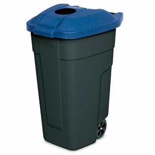 100 Liter Tonne mit Einwurföffnung im Deckel, BxTxH 510x550x850 mm, schwarz/blau