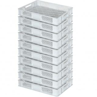 10 Euroboxen / Bäckerkisten, LxBxH 600 x 400 x 90 mm, lebensmittelecht, weiß