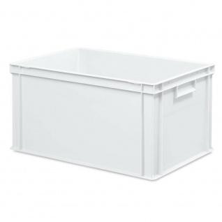 10x Behälter, LxBxH 600x400x320 mm + 10 Scharnierdeckel + 1 Transportroller, weiß