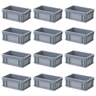 12x Eurobehälter, LxBxH 300 x 200 x 120 mm, 5 Liter, grau, Industriequalität