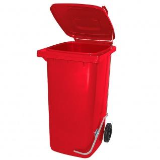 Mülltonne, Inhalt 80 Liter, rot, mit Fußpedal zur Deckelöffnung