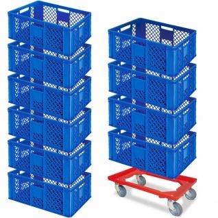 10 Euroboxen, 600x400x240 mm, blau, lebensmittelecht + GRATIS Transportroller