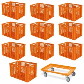 10 Euroboxen, 600x400x410 mm, lebensmittelecht, orange + GRATIS Transportroller