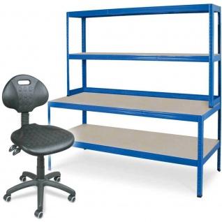 Packtisch / Werkbank, BxTxH 1800 x 600 x 900 mm + Arbeitsdrehstuhl