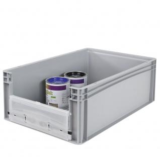 Eurobehälter / Stapelbehälter mit Eingrifföffnung und Riegelklappe, LxBxH 600 x 400 x 220 mm, grau - Vorschau 3