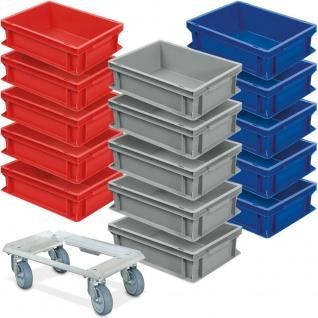 15 Eurobehälter 400x300x120 mm, lebensmittelecht + 1 Alu-Transportroller GRATIS