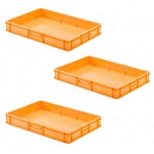 3 Transportbehälter für Backbleche, LxBxH 655x450x100 mm, orange, geschlossen