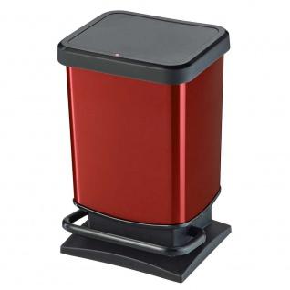 Tretabfalleimer, Inhalt 20 Liter, HxBxT 457 x 266 x 293 mm, schwarz/rot metallic