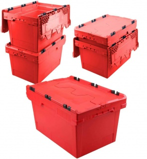 5x Mehrwegbehälter mit Deckel, rot, verplompbar, LxBxH 600x400x350 mm, 58 Liter