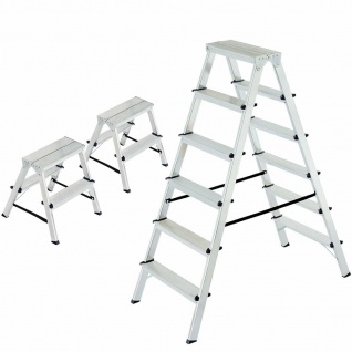 3 Doppelleitern/Bockleitern aus Alu, 2 Leitern 2x2 Stufen + 1 Leiter 2x6 Stufen
