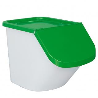 Vorratsbehälter / Zutatenspender, Inhalt 40 Liter, LxBxH 610 x 430 x 450 mm, Behälter weiß, Deckel grün
