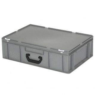 Kunststoffkoffer/Gerätekoffer, Industriequalität, grau, Euromaß LxBxH 600 x 400 x 180 mm