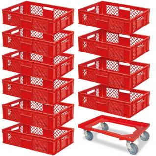 10 Euroboxen, 600x400x150 mm, lebensmittelecht, rot + GRATIS 1 Transportroller