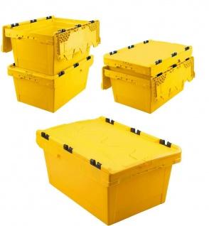 5x Mehrwegbehälter mit Deckel, gelb, verplompbar, LxBxH 600x400x200 mm, 29 Liter