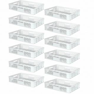 12 Euroboxen / Bäckerkisten, LxBxH 600x400x150 mm, PE-HD, weiß, lebensmittelecht