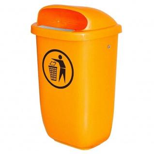 4x Abfallbehälter für den Außenbereich, Inhalt 50 Liter, nach DIN 30713, orange
