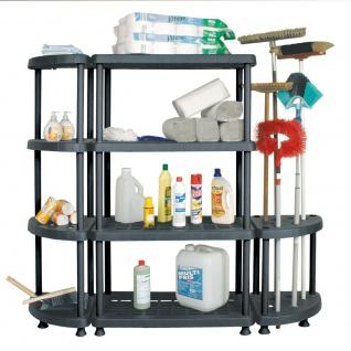 Kunststoffregal für Hygienebereiche, 4 Böden u. 2 Eckregalen, 1360x1590x390 mm