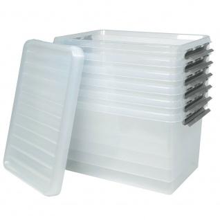 6 Klarsichtboxen mit Clipdeckel, transparent, LxBxH 600x400x340 mm, 62 Liter, PP