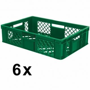 6 Euroboxen / Bäckerkisten, LxBxH 600 x 400 x 150 mm, grün, lebensmittelecht - Vorschau 2