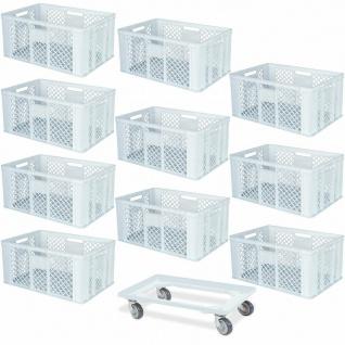 10 Euroboxen, 600x400x320 mm, lebensmittelecht, weiß + GRATIS Transportroller