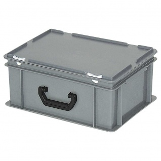 Kunststoffkoffer / Gerätekoffer, Industriequalität, Inhalt 16 Liter, LxBxH 400 x 300 x 180 mm, grau
