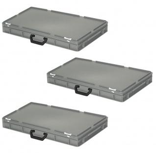 3 Aufbewahrungskoffer / Kunststoffkoffer, LxBxH 600x400x85 mm, 14 Liter, grau