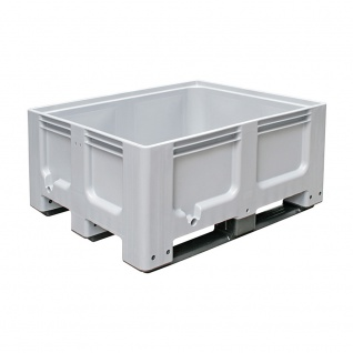 Industriebox mit 3 Kufen, 1200 x 1000 x 580 mm, Boden/Wände durchbrochen, grau