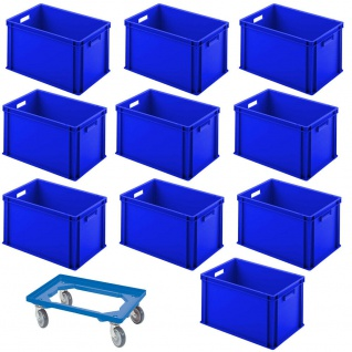 10 Euroboxen/Eurobehälter, LxBxH 600x400x320 mm, blau + 1 GRATIS Transportroller