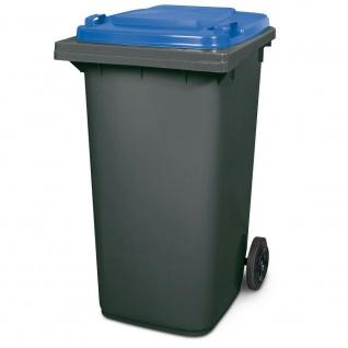 240 Liter MGB, Mülltonne Abfalltonne, grau mit blauem Deckel